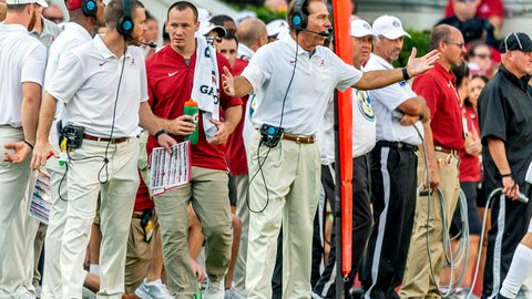 <p>               Alabama head coach Nick Saban, center, yells to his players during the second half of an NCAA college football game against New Mexico State, Saturday, Sept. 7, 2019, in Tuscaloosa, Ala. (AP Photo/Vasha Hunt)             </p>
