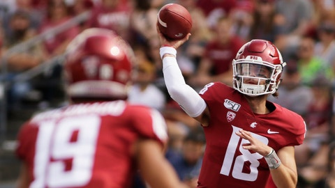 <p>               Washington State quarterback Anthony Gordon, right, throws a pass to wide receiver Brandon Arconado during the first half of an NCAA college football game against Northern Colorado in Pullman, Wash., Saturday, Sept. 7, 2019. (AP Photo/Young Kwak)             </p>