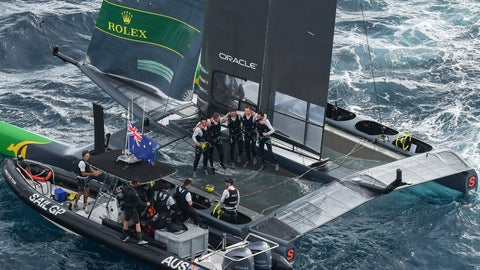 <p>               Australia celebrate their victory in the Grand Final match race. Race Day 3. The final SailGP event of Season 1 in Marseille, France, Sunday, Sept. 22,  2019. (Jon Buckle/SailGP via AP)             </p>