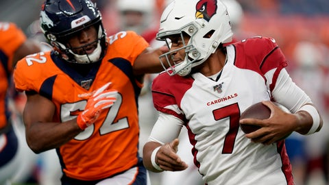 <p>               Arizona Cardinals quarterback Brett Hundley (7) tries to elude the reach of Denver Broncos linebacker Justin Hollins (52) during the first half of an NFL preseason football game, Thursday, Aug. 29, 2019, in Denver. (AP Photo/Jack Dempsey)             </p>
