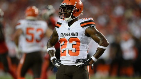 <p>               FILE - In this Aug. 23, 2019, file photo, Cleveland Browns strong safety Damarious Randall (23) is shown during the first half of an NFL preseason football game against the Tampa Bay Buccaneers, in Tampa, Fla. The Browns could be missing several starters Sunday night when they face the defending NFC champion Los Angeles Rams. Tight end David Njoku (wrist), linebacker Christian Kirksey (chest), right tackle Chris Hubbard (foot) and safeties Damarious Randall (concussion) and Morgan Burnett (leg) missed practice Thursday, Sept. 19, 2019.(AP Photo/Jason Behnken, File)             </p>