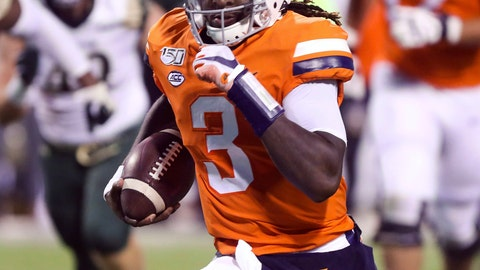 <p>               Virginia quarterback Bryce Perkins (3) runs in front of William & Mary defenders during the first half of an NCAA college football game in Charlottesville, Va., Friday, Sept. 6, 2019. (AP Photo/Andrew Shurtleff)             </p>