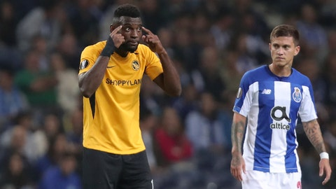 <p>               Young Boys' Jean-Pierre Nsame, left, gestures after scoring his side's first goal from the penalty spot during the Europa League group G soccer match between FC Porto and Young Boys at the Dragao stadium in Porto, Portugal, Thursday, Sept. 19, 2019. (AP Photo/Luis Vieira)             </p>