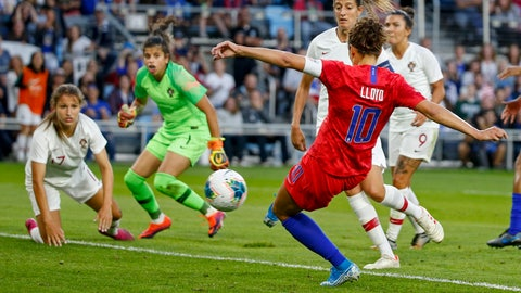 <p>               United States' Carli Lloyd scores a goal against Portugal during the first half of a friendly soccer match Tuesday, Sept. 3, 2019, in St. Paul, Minn. (AP Photo/Bruce Kluckhohn)             </p>