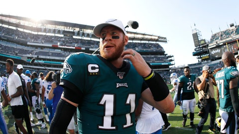 <p>               Philadelphia Eagles' Carson Wentz walks off the field after an NFL football game against the Detroit Lions, Sunday, Sept. 22, 2019, in Philadelphia. (AP Photo/Michael Perez)             </p>