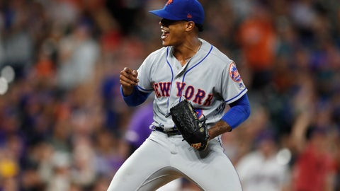 <p>               New York Mets starting pitcher Marcus Stroman reacts after catcher Wilson Ramos threw out Colorado Rockies' Charlie Blackmon, who tried to steal second base during the seventh inning of a baseball game Tuesday, Sept. 17, 2019, in Denver. (AP Photo/David Zalubowski)             </p>