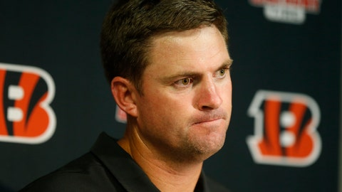 <p>               Cincinnati Bengals head coach Zac Taylor speaks during a news conference after an NFL football game against the Buffalo Bills Sunday, Sept. 22, 2019, in Orchard Park, N.Y. The Bills won 21-17. (AP Photo/John Munson)             </p>