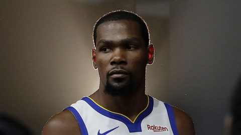 <p>               FILE - This is a Sept. 24, 2018, file photo showing then-Golden State Warriors' Kevin Durant posing for photos during media day at the NBA basketball team's practice facility in Oakland, Calif. Brooklyn Nets general manager Sean Marks says the expectation is Kevin Durant won't play this season, although the All-Star forward will have a say in determining when he's ready. Durant is recovering from surgery to repair a ruptured Achilles tendon. He was injured while playing for the Golden State Warriors in the NBA Finals. He left the Warriors to sign with the Nets in July. (AP Photo/Jeff Chiu, File)             </p>