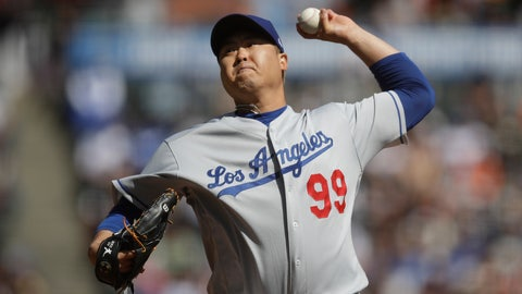 <p>               Los Angeles Dodgers pitcher Hyun-Jin Ryu works against the San Francisco Giants in the first inning of a baseball game Saturday, Sept 28, 2019, in San Francisco. (AP Photo/Ben Margot)             </p>