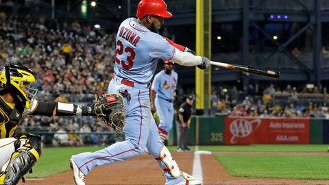 <p>               St. Louis Cardinals' Marcell Ozuna follows through on a three-run home run off Pittsburgh Pirates starting pitcher Steven Brault during the third inning of a baseball game in Pittsburgh, Saturday, Sept. 7, 2019. (AP Photo/Gene J. Puskar)             </p>