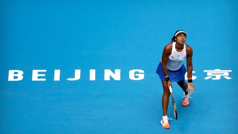 <p>               Naomi Osaka of Japan reacts while competing against Jessica Pegula of the United States during their match in the China Open tennis tournament in Beijing, Sunday, Sept. 29, 2019. (AP Photo/Mark Schiefelbein)             </p>