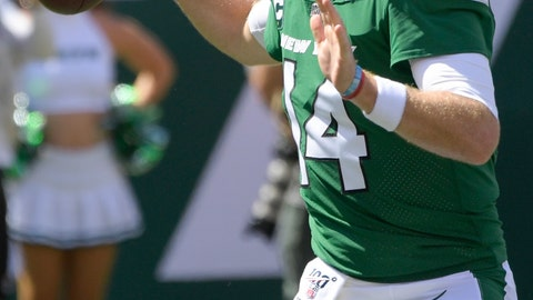 <p>               New York Jets quarterback Sam Darnold (14) throws a pass during the first half of an NFL football game against the Buffalo Bills Sunday, Sept. 8, 2019, in East Rutherford, N.J. (AP Photo/Bill Kostroun)             </p>