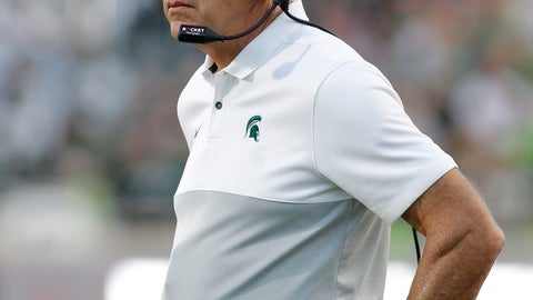 <p>               Michigan State coach Mark Dantonio watches the fourth quarter of an NCAA college football game against Arizona State, Saturday, Sept. 14, 2019, in East Lansing, Mich. (AP Photo/Al Goldis)             </p>