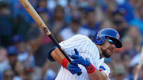 <p>               Chicago Cubs' Kyle Schwarber hits a three-run triple against the Seattle Mariners during the seventh inning of a baseball game Monday, Sept. 2, 2019, in Chicago. (AP Photo/Jim Young)             </p>