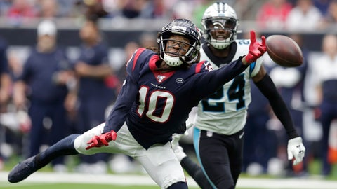 <p>               Houston Texans wide receiver DeAndre Hopkins (10) misses a pass as Carolina Panthers cornerback James Bradberry (24) defend the play during the second half of an NFL football game Sunday, Sept. 29, 2019, in Houston. (AP Photo/Michael Wyke)             </p>