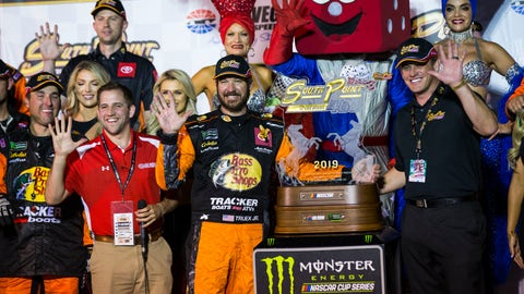 <p>               Martin Truex Jr. is presented with the trophy after winning a NASCAR Cup Series auto race at the Las Vegas Motor Speedway on Sunday, Sept. 15, 2019. (AP Photo/Chase Stevens)             </p>