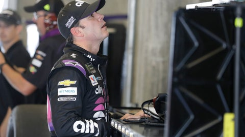 <p>               Monster Energy NASCAR Cup Series driver Jimmie Johnson looks at the speeds during practice for the NASCAR Brickyard 400 auto race at the Indianapolis Motor Speedway, Saturday, Sept. 7, 2019 in Indianapolis. (AP Photo/Darron Cummings)             </p>