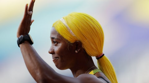 <p>               Shelly-Ann Fraser-Pryce, of Jamaica, waves after finishing at the women's 100 meter heat at the World Athletics Championships in Doha, Qatar, Saturday, Sept. 28, 2019. (AP Photo/Petr David Josek)             </p>