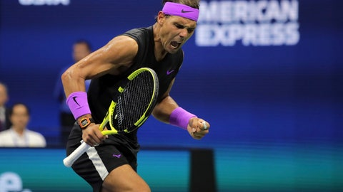 <p>               Rafael Nadal, of Spain, reacts after scoring a point against Daniil Medvedev, of Russia, during the men's singles final of the U.S. Open tennis championships Sunday, Sept. 8, 2019, in New York. (AP Photo/Charles Krupa)             </p>