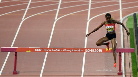 <p>               Beatrice Chepkoech, of Kenya,competes in the women's 3000 meter steeplechase final during the World Athletics Championships in Doha, Qatar, Monday, Sept. 30, 2019. (AP Photo/Martin Meissner)             </p>