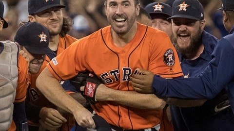 <p>               Houston Astros starter Justin Verlander is mobbed by teammates after pitching a no-hitter against the Toronto Blue Jays in a baseball game in Toronto, Sunday, Sept. 1, 2019. (Fred Thornhill/The Canadian Press via AP)             </p>