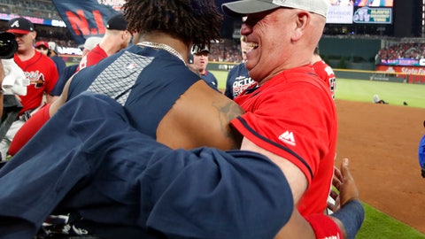 <p>               Atlanta Braves manager Brian Snitker (43), right, hugs Ronald Acuna Jr., after defeating the San Francisco Giants in a baseball game to clinch the NL East baseball title Friday, Sept. 20, 2019, in Atlanta. (AP Photo/John Bazemore)             </p>