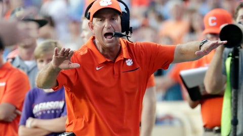 <p>               Clemson head coach Dabo Swinney yells to an official during the fourth quarter of an NCAA college football game against North Carolina in Chapel Hill, N.C., Saturday, Sept. 28, 2019. (AP Photo/Chris Seward)             </p>