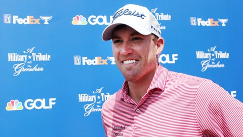 <p>               Robby Shelton speaks to the media after finishing the first round of A Military Tribute at The Greenbrier golf tournament in White Sulphur Springs, W.Va, Thursday, Sept. 12, 2019.  (Chris Jackson/The Register-Herald via AP)             </p>