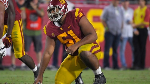 """<p>               FILE - In this Aug. 31, 2019, file photo, Southern California defensive lineman Marlon Tuipulotu gets ready to run a play during the second half of an NCAA college football game against Fresno State, in Los Angeles. Southern California assistant coach Chad Kauha'aha'a always knew defensive tackle Marlon Tuipulotu could be a special player. Kauha'aha'a believed it when he tried to recruit Tuipulotu to Oregon State, and he is seeing it in his first season working with the redshirt sophomore for the No. 24 Trojans. """"I knew he had the potential to be a great one,"""" Kauha'aha'a said Wednesday night, Sept. 11, 2019. (AP Photo/Mark J. Terrill, File)             </p>"""