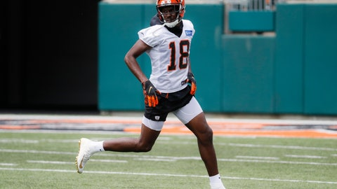 <p>               FILE - In this June 12, 2019, file photo, Cincinnati Bengals wide receiver A.J. Green participates during practice at the team's NFL football facility in Cincinnati. A.J. Green has started running for the first time since he hurt his ankle during the opening practice of training camp, an indication he's healing quickly from surgery. Green was out of his protective boot Wednesday, Sept. 11, 2019,  for the first time since the injury. The Bengals expect him back during the first half of the season, although there's no specific target for his return. (AP Photo/John Minchillo, File)             </p>