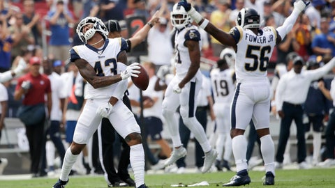 <p>               Los Angeles Rams strong safety John Johnson celebrates after an inception against the New Orleans Saints during the first half of an NFL football game Sunday, Sept. 15, 2019, in Los Angeles. (AP Photo/Marcio Jose Sanchez)             </p>