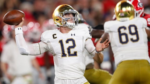 <p>               Notre Dame quarterback Ian Book (12) works in the pocket against Georgia during the first half of an NCAA college football game, Saturday, Sept. 21, 2019, in Athens, Ga. (AP Photo/John Bazemore)             </p>