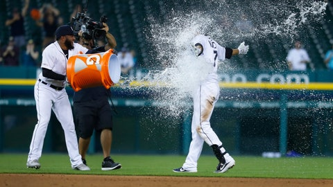 <p>               Detroit Tigers' Ronny Rodriguez tosses water on Jordy Mercer after his single to score Willi Castro in the ninth inning of a baseball game against the New York Yankees in Detroit, Tuesday, Sept. 10, 2019. Detroit won 12-11. (AP Photo/Paul Sancya)             </p>