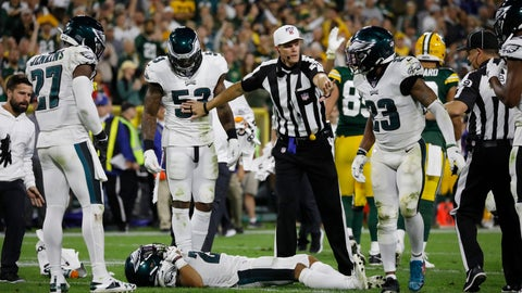 <p>               Philadelphia Eagles cornerback Avonte Maddox lies injured on the field during the second half of the team's NFL football game against the Green Bay Packers on Thursday, Sept. 26, 2019, in Green Bay, Wis. Philadelphia won 34-27. (AP Photo/Jeffrey Phelps)             </p>