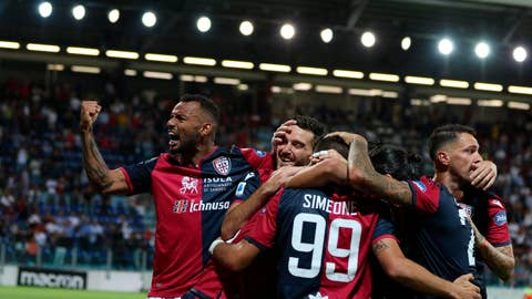 <p>               Cagliari's Giovanni Simeone, center, celebrates with his teammates after scoring the first goal of the game during the Italian Serie A soccer match between Cagliari Calcio and Genoa CFC at Sardegna Arena stadium in Cagliari, Sardinia island, Italy, Friday, Sept. 20, 2019 (Fabio Murru/ANSA via AP)             </p>
