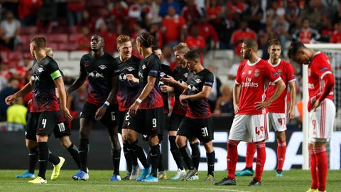 <p>               Leipzig's Timo Werner celebrates with teammates scoring the second goal during the Champions League group G soccer match between Benfica and Leipzig at the Luz stadium in Lisbon, Tuesday, Sept. 17, 2019. (AP Photo/Armando Franca)             </p>