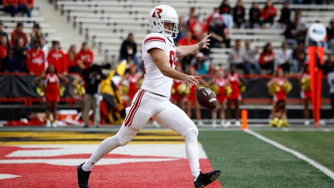 <p>               FILE - In this Oct. 13, 2018, fikle photo, Rutgers punter Adam Korsak punts the ball in the first half of an NCAA college football game against Maryland, in College Park, Md. The Big Ten Conference knows the value of having good punters, and they are sometimes willing to go a long way to get them. Korsak is a former Australian rules football player who trained at ProKick Australia before coming to the United States. (AP Photo/Patrick Semansky, File)             </p>