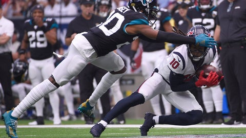 <p>               Houston Texans wide receiver DeAndre Hopkins (10) makes a catch in front of Jacksonville Jaguars cornerback Jalen Ramsey (20) during the first half of an NFL football game Sunday, Sept. 15, 2019, in Houston. (AP Photo/Eric Christian Smith)             </p>
