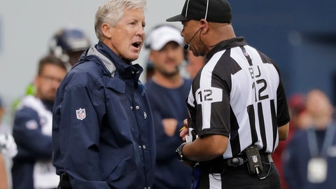 <p>               Seattle Seahawks head coach Pete Carroll, left, talks with back judge Greg Steed during the second half of an NFL football game against the Cincinnati Bengals, Sunday, Sept. 8, 2019, in Seattle. (AP Photo/John Froschauer)             </p>