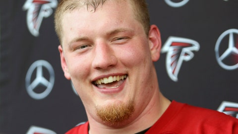 <p>               FILE - In this May 10, 2019, file photo, Atlanta Falcons offensive lineman Kaleb McGary speaks to the media after NFL football rookie camp in Flowery Branch, Ga. The Falcons' offensive line remains a work in progress. Having rookie first-round pick Kaleb McGary again cleared for contact following a heart procedure may help. (AP Photo/Tami Chappell, File)             </p>
