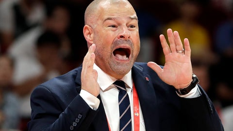 <p>               Poland's coach Mike Taylor calls out instructions to his team during their group phase basketball game against Ivory Coast in the FIBA Basketball World Cup at the Cadillac Arena in Beijing, Wednesday, Sept. 4, 2019. (AP Photo/Mark Schiefelbein)             </p>