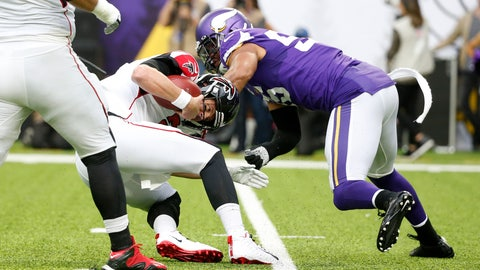 <p>               Atlanta Falcons quarterback Matt Ryan is sacked by Minnesota Vikings outside linebacker Anthony Barr, right, during the first half of an NFL football game, Sunday, Sept. 8, 2019, in Minneapolis. (AP Photo/Bruce Kluckhohn)             </p>