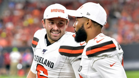 <p>               FILE - In this Aug. 8, 2019, file photo, Cleveland Browns' Baker Mayfield, left, smiles as he talks with wide receiver Odell Beckham Jr. during the second half of an NFL preseason football game against the Washington Redskins in Cleveland. Mayfield isn't concerned about the huge expectations being placed on the Browns, who went 7-8-1 during his rookie season but upgraded their roster and should compete for their first playoff spot since 2002. (AP Photo/David Richard, File)             </p>