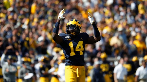 <p>               Michigan defensive back Josh Metellus reacts during overtime in an NCAA college football game against Army in Ann Arbor, Mich., Saturday, Sept. 7, 2019. Michigan won 24-21 in double-overtime. (AP Photo/Paul Sancya)             </p>