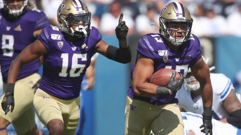 <p>               Washington linebacker Brandon Wellington (13), runs the ball in for a touchdown after he recovered a fumble as Washington defensive back Cameron Williams (16) celebrates in the first half, during an NCAA college football game, Saturday, Sept. 21, 2019, in Provo, Utah. (AP Photo/George Frey)             </p>