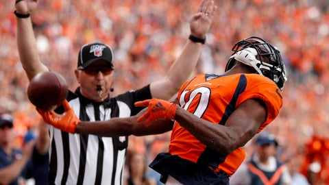 <p>               Denver Broncos wide receiver Emmanuel Sanders (10) celebrates his touchdown against the Chicago Bears during the second half of an NFL football game, Sunday, Sept. 15, 2019, in Denver. (AP Photo/David Zalubowski)             </p>