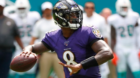 <p>               FILE - In this Sunday, Sept. 8, 2019, file photo, Baltimore Ravens quarterback Lamar Jackson (8) looks to pass during the first half at an NFL football game against the Miami Dolphins in Miami Gardens, Fla. Boosting the Ravens to the top in yards gained is an average of 541.5 yards, led by Jackson's superb passing and running. (AP Photo/Wilfredo Lee, File)             </p>