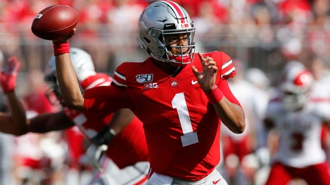 <p>               Ohio State quarterback Justin Fields throws a pass against Miami (Ohio) during the first half of an NCAA college football game Saturday, Sept. 21, 2019, in Columbus, Ohio. (AP Photo/Jay LaPrete)             </p>