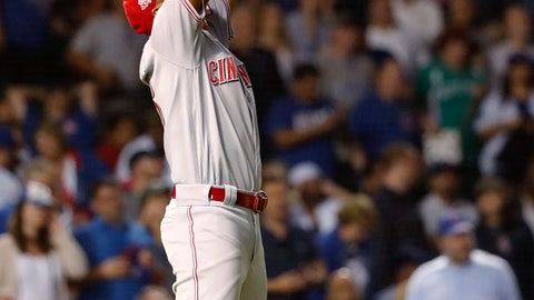 <p>               Cincinnati Reds relief pitcher Raisel Iglesias celebrates the team's 3-2 win over the Chicago Cubs in 10 innings in a baseball game Wednesday, Sept. 18, 2019, in Chicago. (AP Photo/Charles Rex Arbogast)             </p>