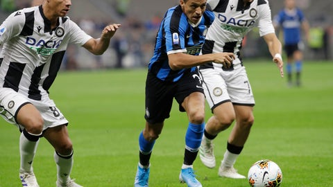 <p>               Inter Milan's Alexis Sanchez challenges for the ball with Udinese's Antonin Barak during a Serie A soccer match between Inter Milan and Udinese, at the San Siro stadium in Milan, Italy, Saturday, Sept. 14, 2019. (AP Photo/Luca Bruno)             </p>